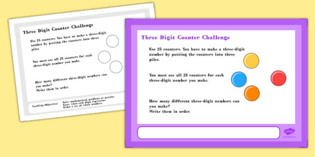 Three Digit Counter Maths Challenge A4 Display Posters - display