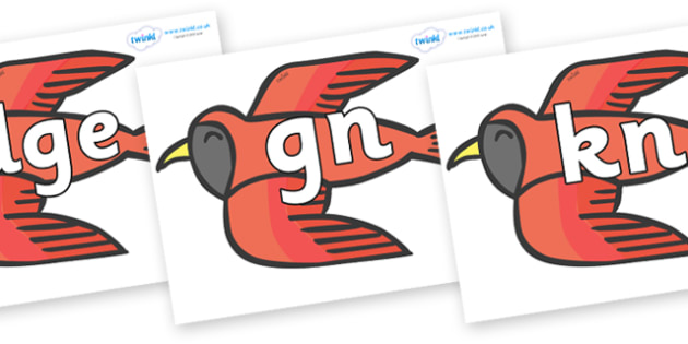 Silent Letters on Red Bird to Support Teaching on Brown Bear, Brown Bear - Silent Letters, silent letter, letter blend, consonant, consonants, digraph, trigraph, A-Z letters, literacy, alphabet, letters, alternative sounds