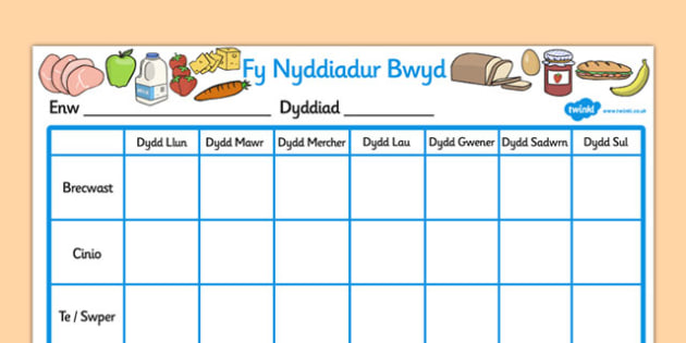 Fy Nyddiadur Bwyta'n Iach - welsh, wales, healthy eating, food, journal
