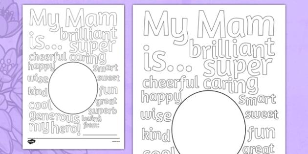 Mother's Day Describing Words Card Irish - mams, mammy, celebration, Ireland