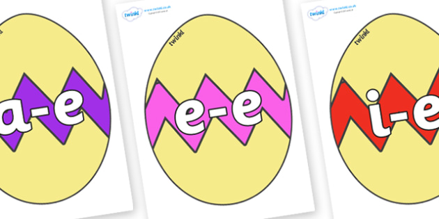 Modifying E Letters on Easter Eggs (Cracked) - Modifying E, letters, modify, Phase 5, Phase five, alternative spellings for phonemes, DfES letters and Sounds