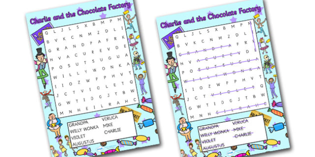 Word Search to Support Teaching on Charlie and the Chocolate Factory - Charlie and the chocolate factory, charlie and the chocolate factory wordsearch, wordsearch