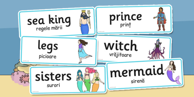 The Little Mermaid Word Cards Romanian Translation - romanian