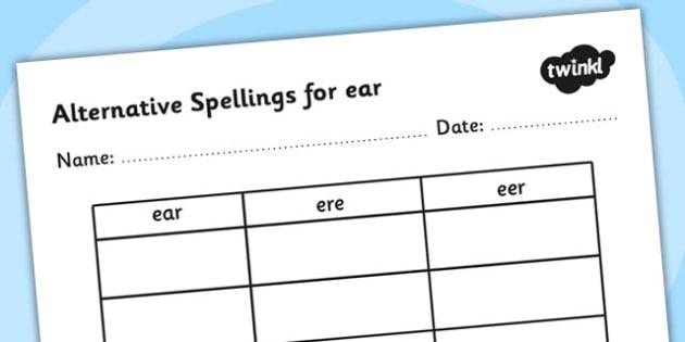 Alternative Spellings for ear Table Worksheet - alternative spellings for ear, table worksheet pack, table worksheet, ear worksheet
