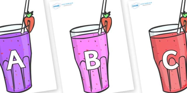 A-Z Alphabet on Smoothies - A-Z, A4, display, Alphabet frieze, Display letters, Letter posters, A-Z letters, Alphabet flashcards
