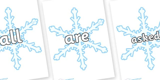 Tricky Words on Snowflakes (New) - Tricky words, DfES Letters and Sounds, Letters and sounds, display, words