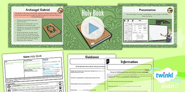 PlanIt - RE Year 3 - Islam Lesson 5: Holy Book Lesson Pack - Qur'an, Mecca, Muslim, Sunnah, Hadith