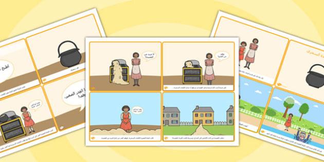 تسلسل قصة وعاء العصيدة السحري (أربع صفحات في صفحة A4)