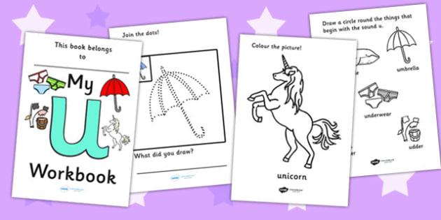 My Workbook u lowercase - education, home school, child development, children activities, free, kids, worksheets, how to write, literacy