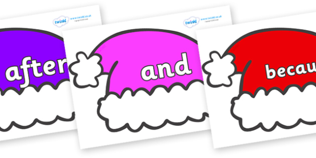 Connectives on Santa Hats - Connectives, VCOP, connective resources, connectives display words, connective displays