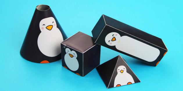 Penguin Themed 3D Shape Nets - 3d, shape, penguins, net, 3d shape, penguin