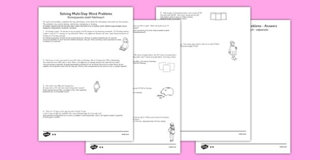Differentiated Two Step Maths Word Problems Polish Translation - polish, maths, problems