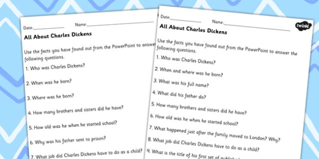 All About Charles Dickens Differentiated Comprehension Worksheets