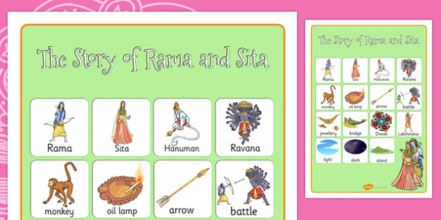 The Story of Rama and Sita Vocabulary Poster - hinduism, diwali