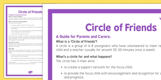 Circle of Friends Handout For Parents and Carers of Volunteer Children - circle of friends