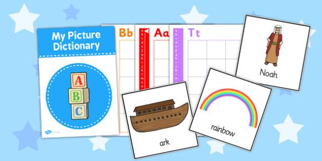 Noahs Ark Dictionary Word Cards - dictionary, word, cards, ark