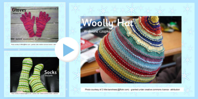 Winter Clothes Photo Display PowerPoint Polish Translation - polish, winter, clothes, photo, display, powerpoint