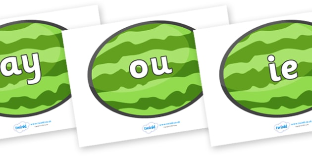 Phase 5 Phonemes on Melons (Horizontal) - Phonemes, phoneme, Phase 5, Phase five, Foundation, Literacy, Letters and Sounds, DfES, display