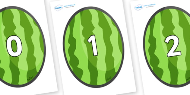 Numbers 0-50 on Melons (Vertical) - 0-50, foundation stage numeracy, Number recognition, Number flashcards, counting, number frieze, Display numbers, number posters