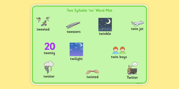 Two Syllable TW Word Mat - sen, sound, special educational needs, tw, word mat