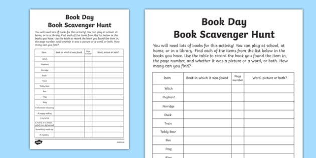 Book Day Scavenger Hunt Checklist