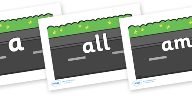 Foundation Stage 2 Keywords on Roads (Plain) - FS2, CLL, keywords, Communication language and literacy,  Display, Key words, high frequency words, foundation stage literacy, DfES Letters and Sounds, Letters and Sounds, spelling