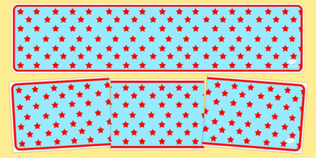 Sky Blue with Red Stars Editable Display Banner - sky blue, red stars, editable, display banner