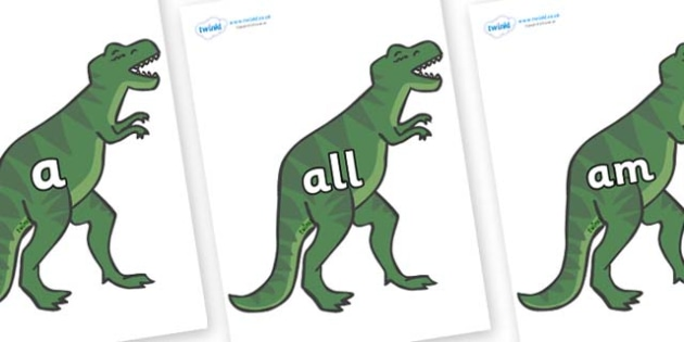 Foundation Stage 2 Keywords on T-Rex - FS2, CLL, keywords, Communication language and literacy,  Display, Key words, high frequency words, foundation stage literacy, DfES Letters and Sounds, Letters and Sounds, spelling
