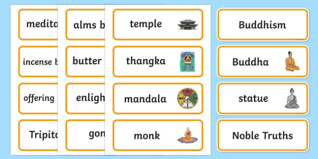 Buddhism Word Cards - buddhism, buddhism word cards, word cards, buddhism themed word cards, religion word cards, religious education