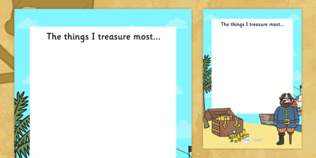 The Things I Treasure Pirate Writing Frame - pirate writing frame, pirates, pirate, the things I treasure writing frame, pirate theme writing, writing