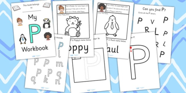 My Workbook P uppercase - workbook, P sound, uppercase, letters, alphabet, activity, handwriting, writing
