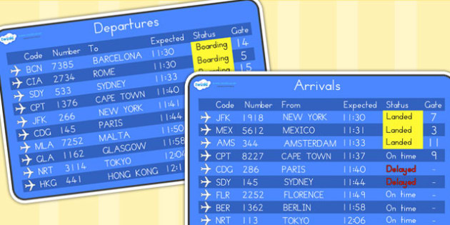 Airport Arrivals and Departures Screens - airport, role play