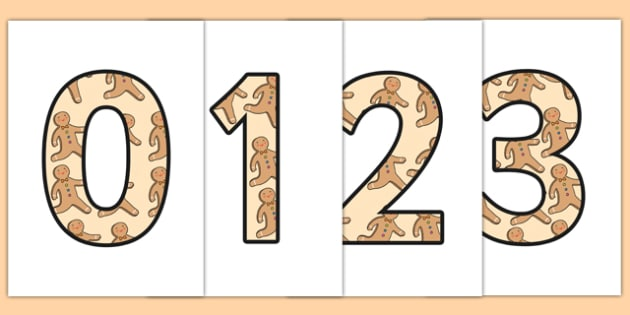 The Gingerbread Man Themed A4 Display Numbers - display numbers