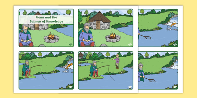 Fionn and the Salmon of Knowledge Sequencing Cards - roi, republic, of ireland, myths, legends,