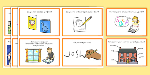 Writing And Mark Making Area Challenge Cards - challenge, cards