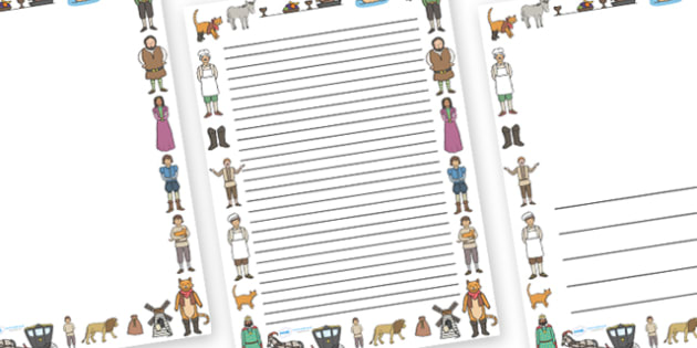 Puss in Boots Page Borders - Puss, cat, in boots, royal, coach, curier, miller, king, king's daughter, donkey, prince, page border, border, writing template, writing aid, writing, Marquis of Carabas, mill, boots, inheritance, son,  story, traditional