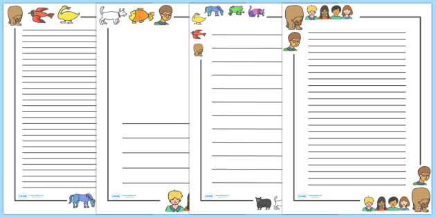 Page Borders to Support Teaching on Brown Bear, Brown Bear - Brown Bear, Brown Bear, Bill Martin,  red bird, yellow duck, blue horse, green frog, purple cat, colours, animals, animal names, story, story book, story book resources, story sequencing, s