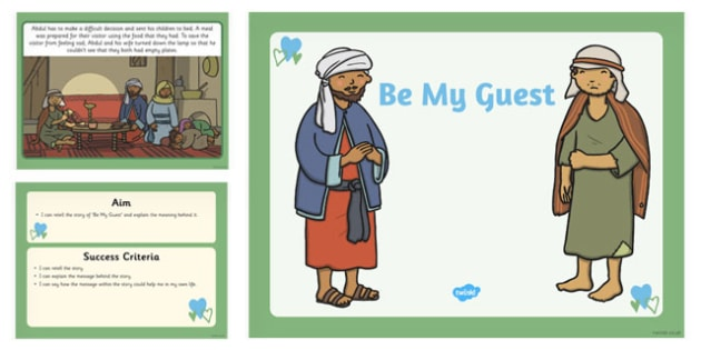 Be My Guest Lesson Presentation - story, religion, be my guest