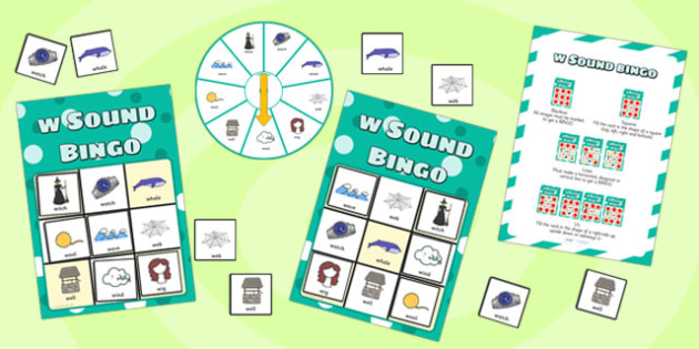 w Sound Bingo Game with Spinner - w, sound, sounds, bingo, game