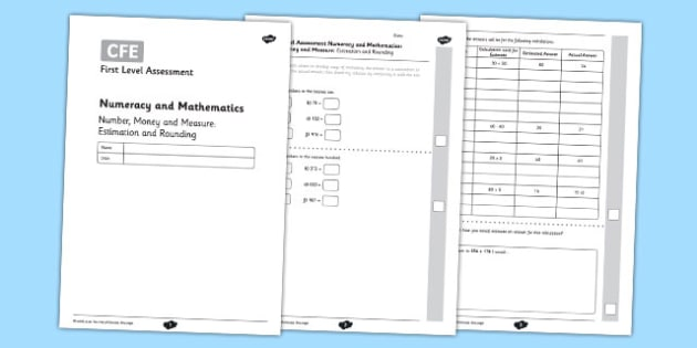 First Level Assessment: Number, Money and Measure - Estimation and Rounding - CfE, numeracy, estimation, rounding