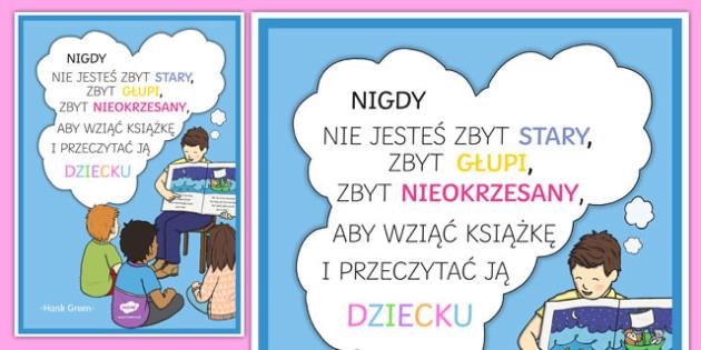 Plakat motywacyjny Nigdy nie jesteś zbyt stary po polsku