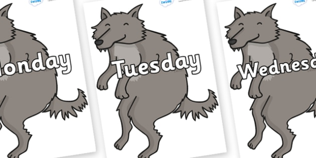 Days of the Week on Wolf - Days of the Week, Weeks poster, week, display, poster, frieze, Days, Day, Monday, Tuesday, Wednesday, Thursday, Friday, Saturday, Sunday