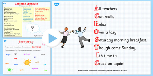 Recognise Different Forms of Poetry Acrostics Teaching PowerPoint