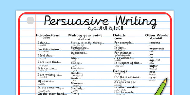 Persuasive Writing Word Mat Arabic Translation - arabic, writing, write, word mat, keywords