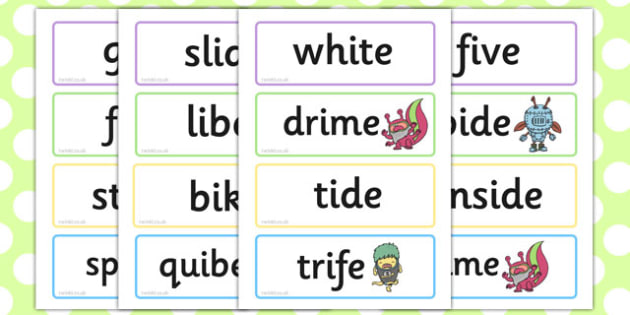 Phase 5 'i_e' Split Digraph Flashcards Real and Nonsense Words, silent e