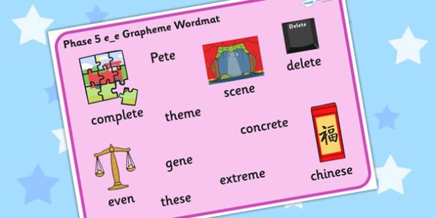 Phase 5 e_e Grapheme Word Mat - phase five, graphemes, phases