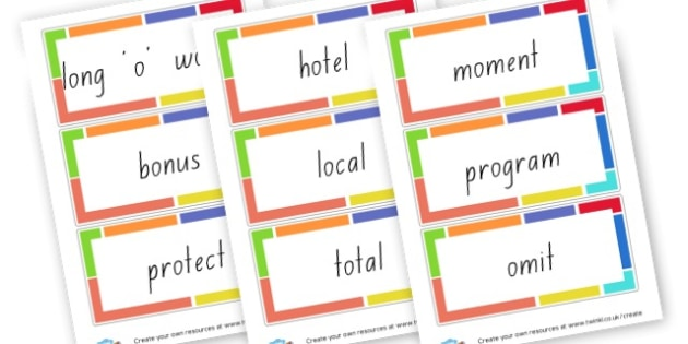 Long O Word Cards - Words & Vocab Primary Resources, literacy, keywords, cvc, phonemes