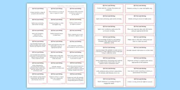 CfE First Level Writing Benchmarks Assessment Stickers-Scottish