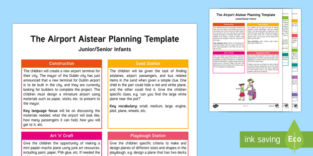The Airport Aistear Planning Template - Aistear, Infants, English Oral Language, School, The Garda Station, The Hairdressers, The Airport, T