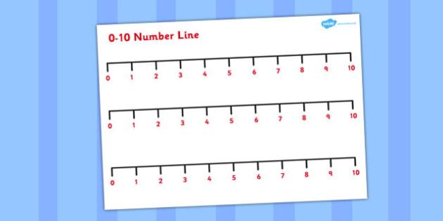 0-10 Number Line - number line, number, line, 0-10, 10, 0, lines
